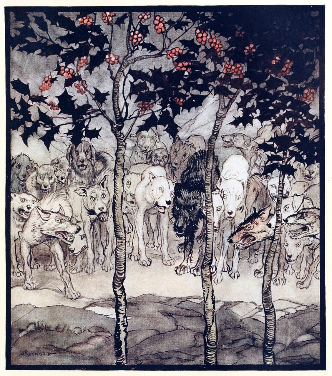 They stood outside, filled savagery and terror. Arthur Rackham, from Irish fairy tales, by James Stephens, London, 1920. (Source: archive.org)