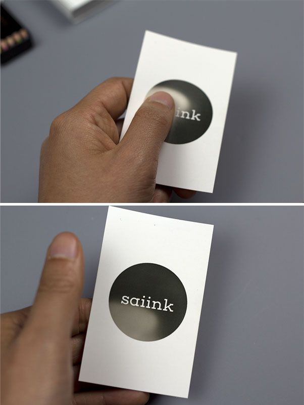 Business card printed with thermal ink. This ink is sensitive to ...