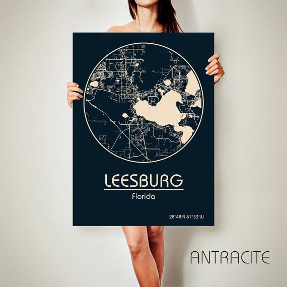 Map Of Leesburg Florida.Leesburg Florida Canvas Map Leesburg Florida Poster By Archtravel