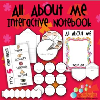 Interactive Notebooks are a great way to get your kids excited about learning and writing. They take journaling to the next level. Each page is designed to be cut out and have some kind of 3D and interactive aspect to it. Some pages are flip book pages, some are spinners, some are pockets, etc. This one was designed for Preschool (PreK) or Kindergarten. SO fun!