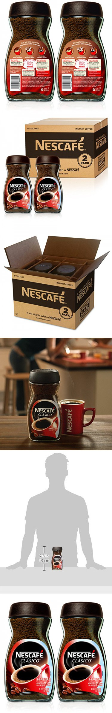 Nescafe Clasico Instant Coffee,7 Ounce (Pack of 2