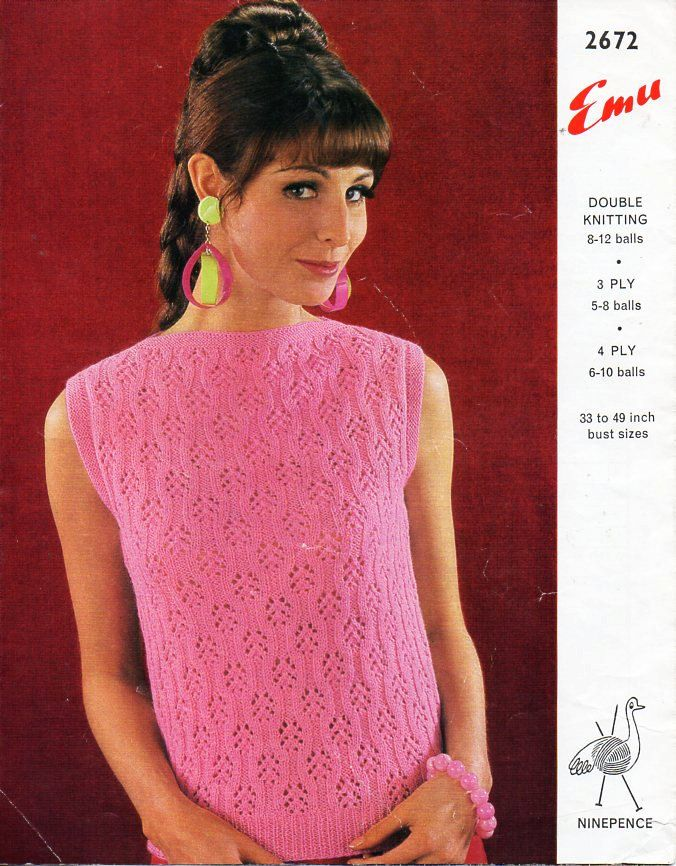 Vintage Ladies Lacy Top Knitting Pattern Pdf 3ply 4ply Or Dk Womens