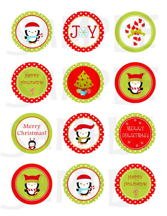 Christmas stickers. Christmas cupcake toppers. Christmas tags ...
