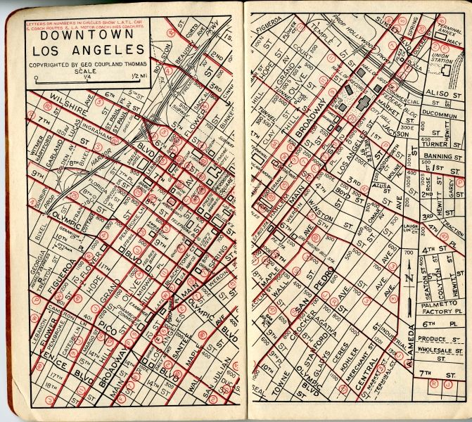 downtown los angeles george coupland thomas thomas brothers map