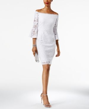 0e8f9c4343bdd Adrianna Papell Off-The-Shoulder Lace Bell-Sleeve Dress - White 12 ...