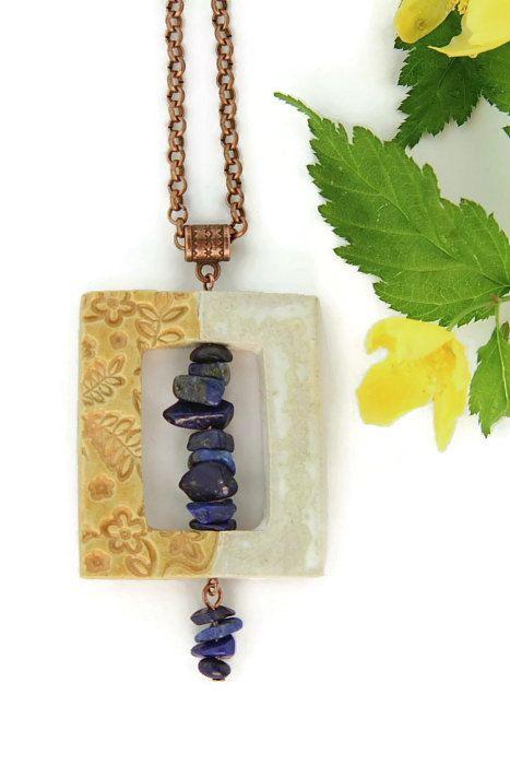 Lapis Lazuli Gemstone Chip Ceramic Rectangle Floral by HeliHelmed, €17.00