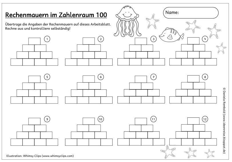 Passendes Arbeitsblatt zu den maritimen Rechenmauern Wie versprochen ...