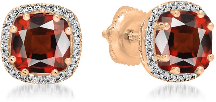Ice 2 2/5 CT TW Garnet and Diamond 14K Rose Gold Multi-Prong Cushion Cut Stud Earrings