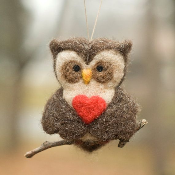 Needle Felted Owl Ornament Valentine Heart