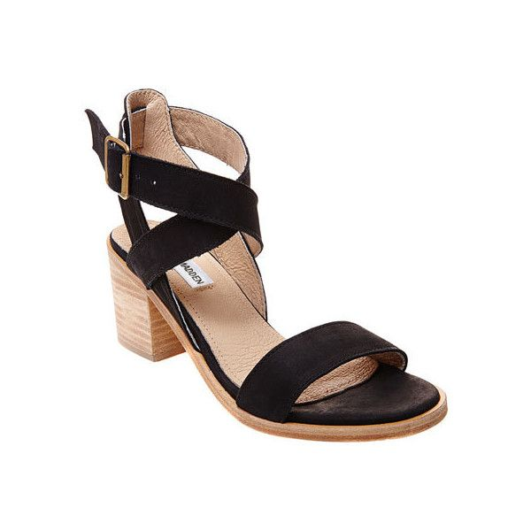 Women's Steve Madden Paalace Sandal - Black Leather Casual ($100) ❤ liked  on Polyvore