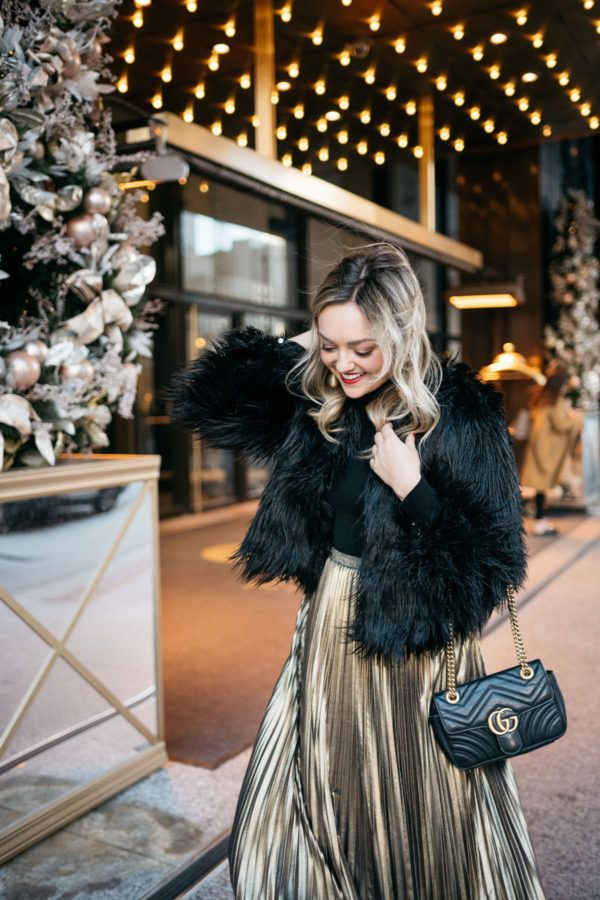 Winter Party Outfit Black Fur Coat + Gold Skirt Holiday