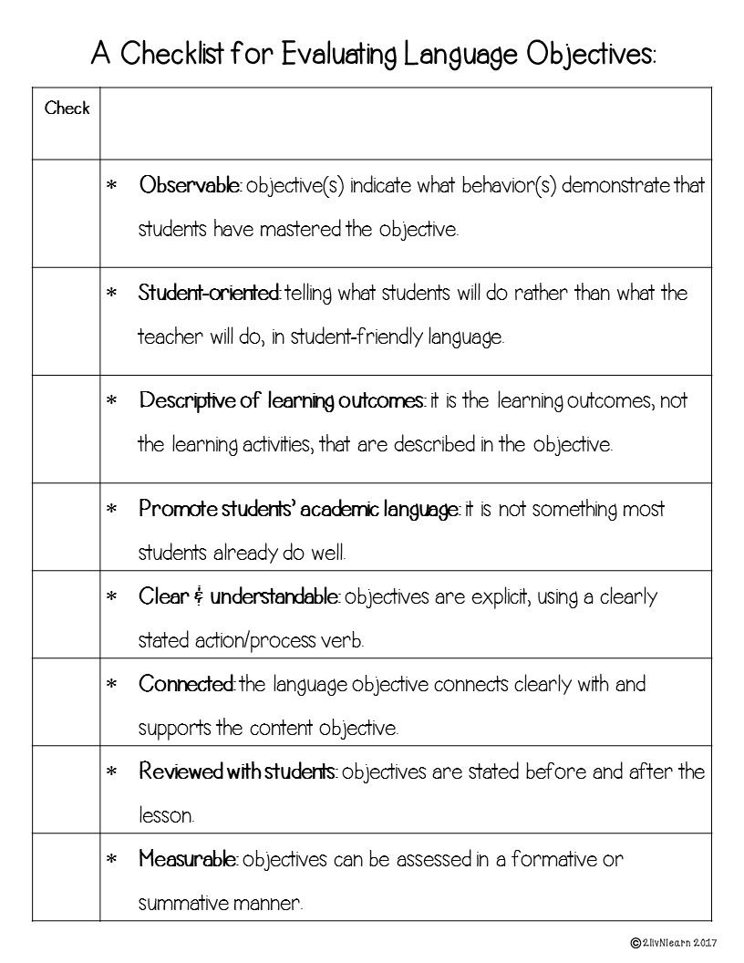 objectives as a teacher
