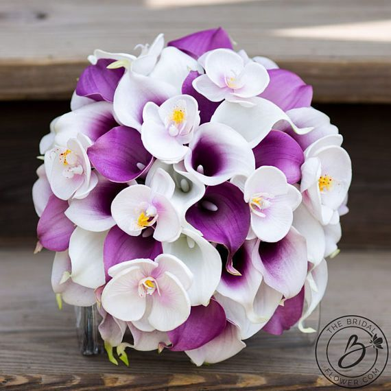 Calla lily bouquet, orchid wedding bouquet, Purple and white real ...
