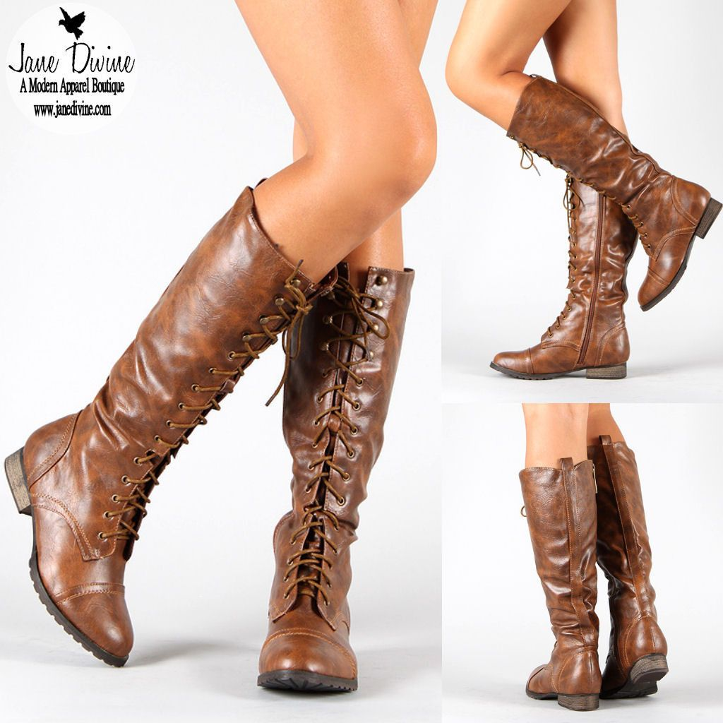 Fall Fashion, Boots, All Tied Up Lace-Up Boots-Cognac by Jane ...