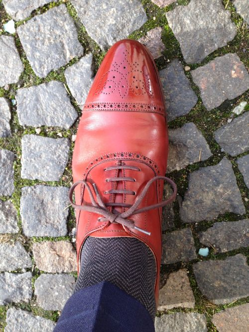 http://chicerman.com  buttondownandknitties:  Crockett & Jones Malton X Shibumi Herringbone Socks  #menshoes