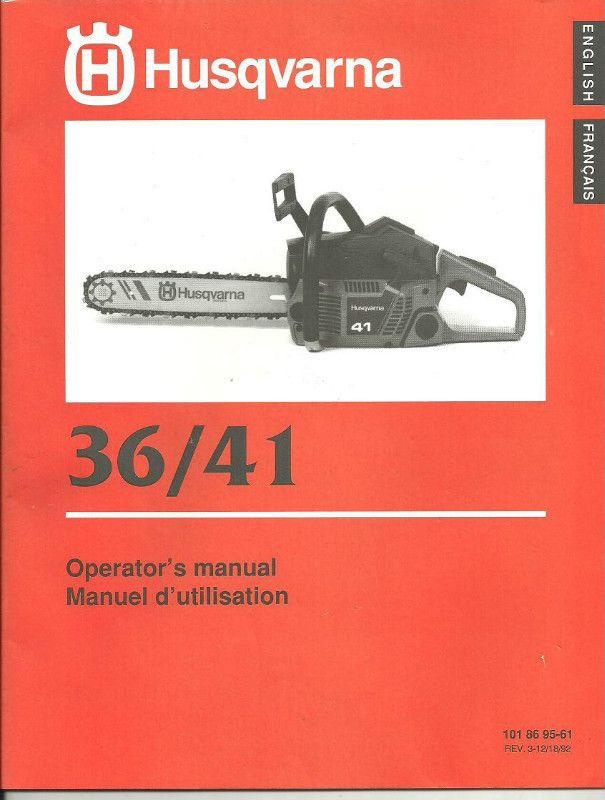 operator s manual husqvarna 36 41 chain saw 101 86 95 61 rev 3 12 rh pinterest com husqvarna 41 chainsaw service manual Husqvarna 50 Chainsaw Switch