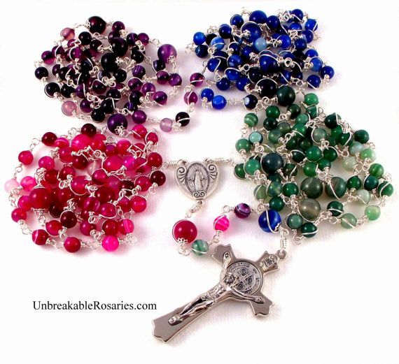 Twenty decade, wire-wrapped Miraculous Medal rosary beads in rose, purple, blue and green striped agate with St Benedict crucifix.  www.UnbreakableRosaries.com