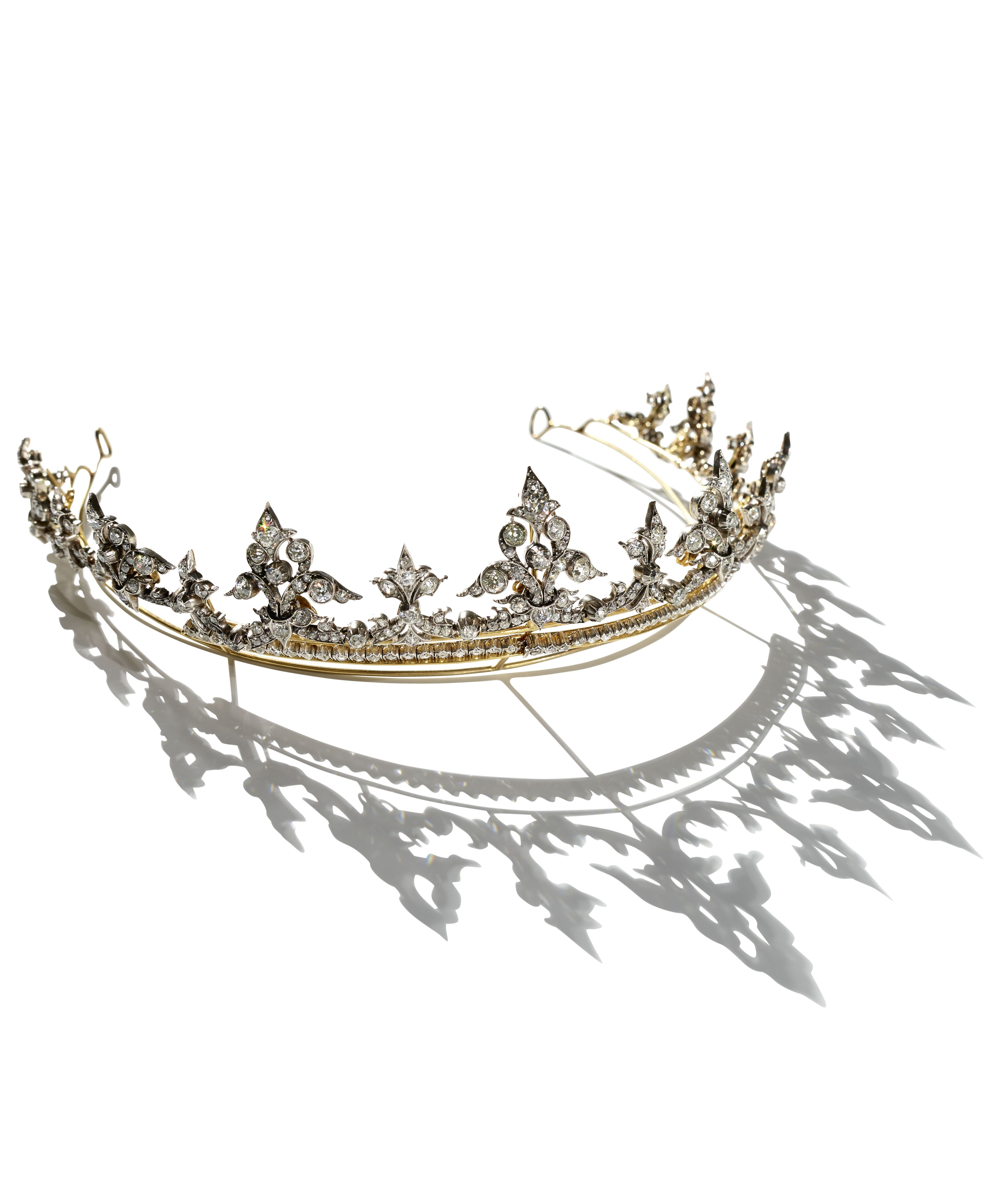 A Victorian gilded silver and diamond tiara London Great Britain