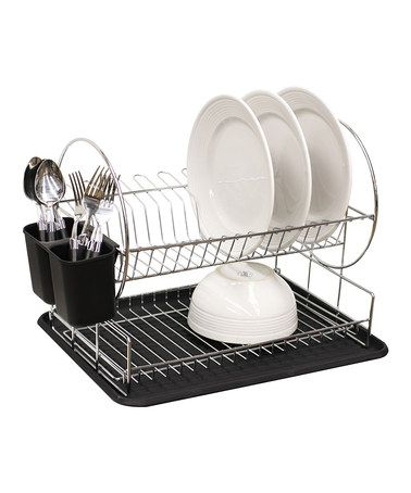 Home Basics 2 Tier Dish Rack New Take A Look At This Black Twotier Dish Rackhome Basics On Design Ideas