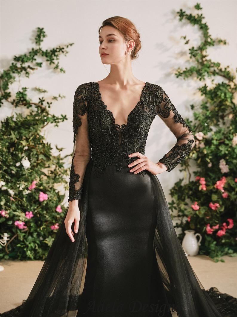 Black Satin Mermaid Gothic Wedding Dress Bridal Gown With Etsy Gothic Wedding Dress Black Wedding Dress Gothic Black Wedding Dresses [ 1059 x 794 Pixel ]