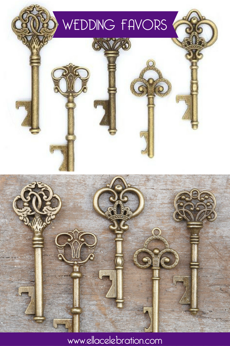 50 Assorted Key Bottle Openers - Antique Gold | Rustic wedding ...