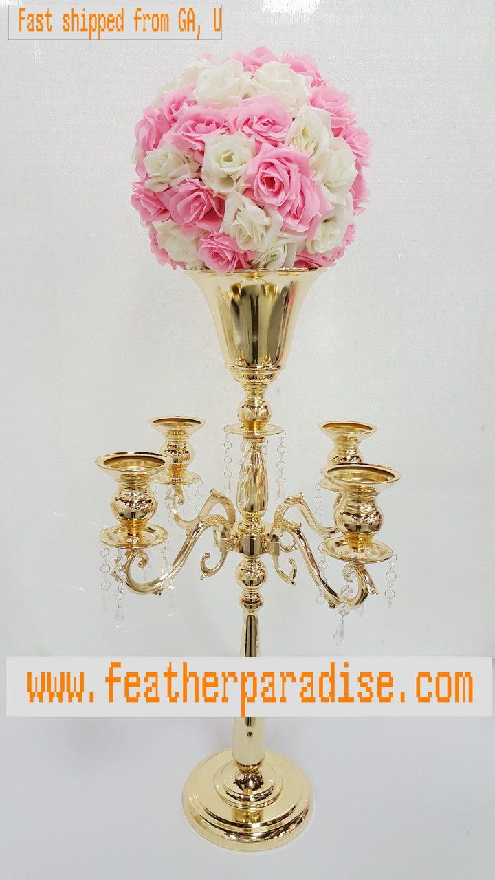 30 Inches Gold/Silver Large 5-Arm Metal Candelabra/ Floral Riser ...