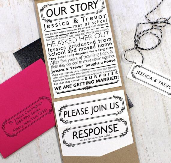 Newspaper Wedding Invitation Pocket Fold