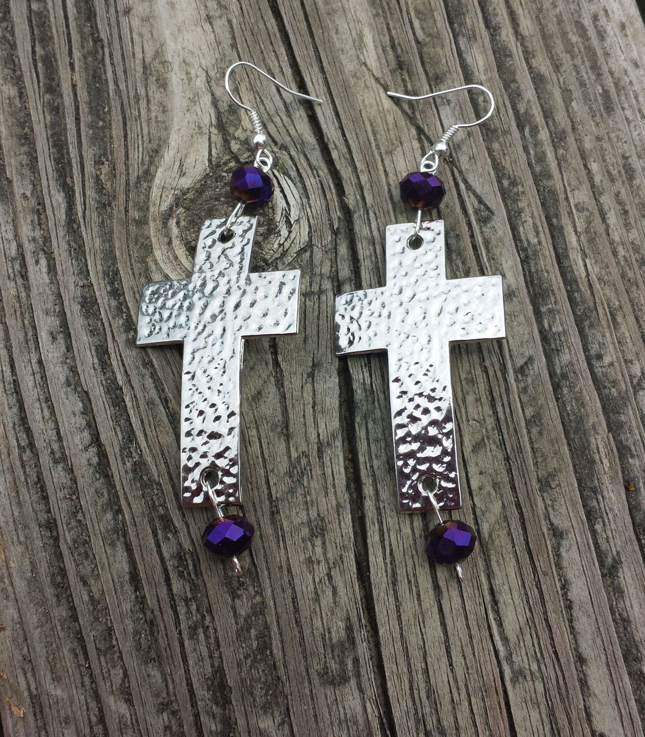 Cross earrings with purple glass beads by amyksoriginals