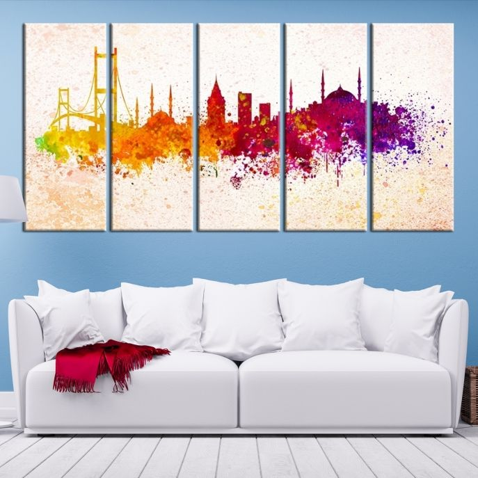 Extra large wall art watercolor istanbul city skyline canvas print extra large wall art watercolor istanbul city skyline canvas print mygreatcanvas extra world map gumiabroncs Image collections