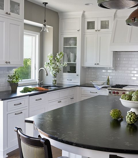 Black Kitchen Cabinets White Tile: Traditional Spaces White Cabinets With Black Countertop
