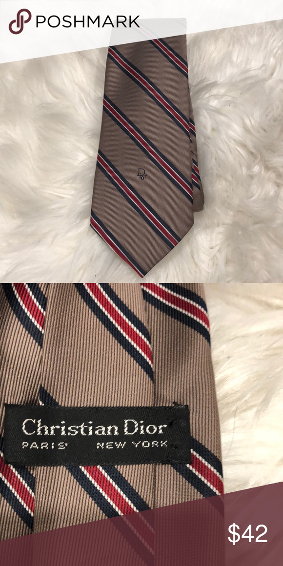 566afaa3ec1f Christian Dior Tie Taupe Navy and Red stripe Christian Dior Tie Dior  Accessories Ties