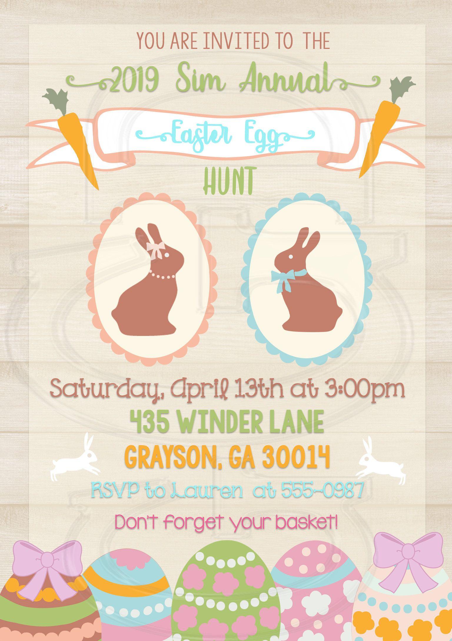 Easter Invite Easter Egg Hunt Invitation Easter Birthday