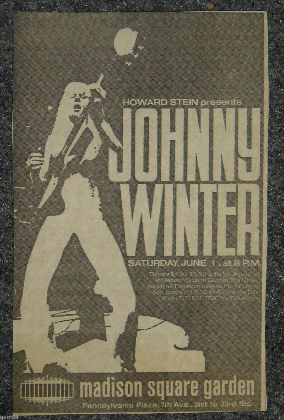 johnny winter madison square garden 1974 concert poster ad click