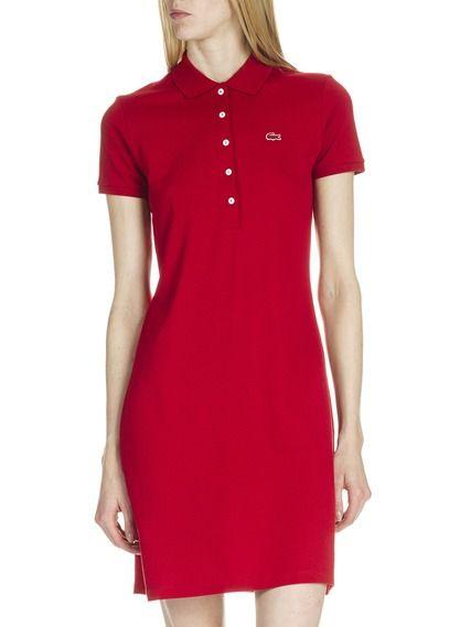 8186f08ec5b Robe polo Lacoste manches courtes en coton piqué Rouge by LACOSTE Robe  Lacoste Femme