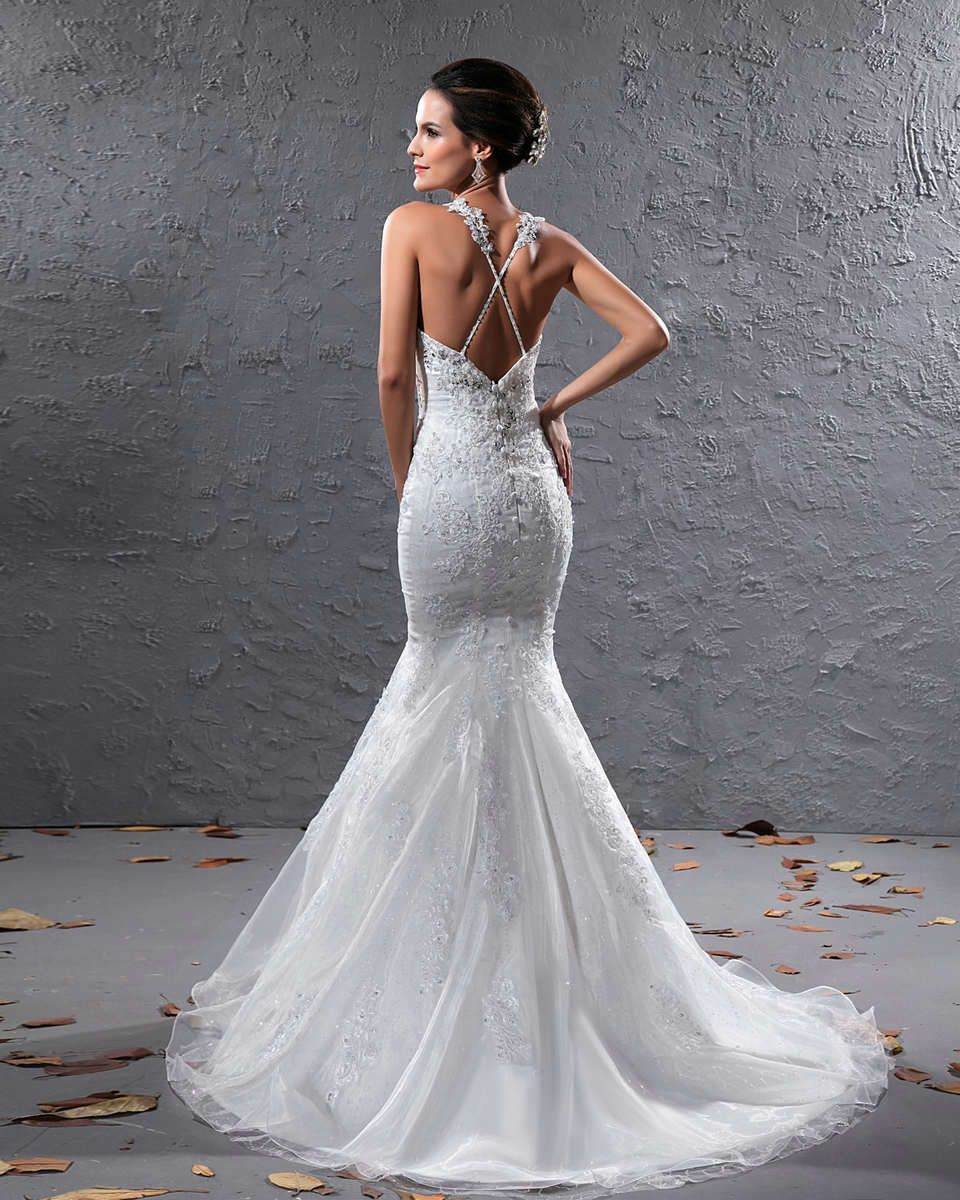 Mermaid Wedding Dress With Straps : Wedding dreeses with cross straps appliques