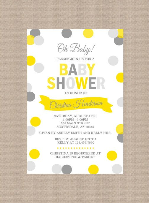 Yellow and gray baby shower invitation gender by honeyprint baby yellow and gray baby shower invitation gender by honeyprint filmwisefo