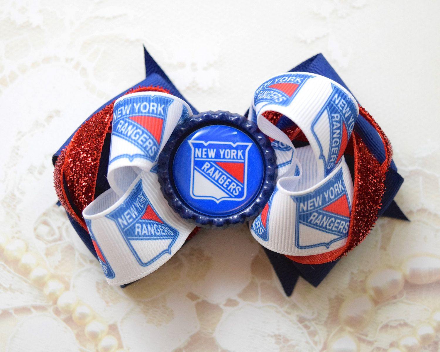 New York Rangers Inspired Hair Bow in Blue and Red by BellaRosaBabywear on Etsy