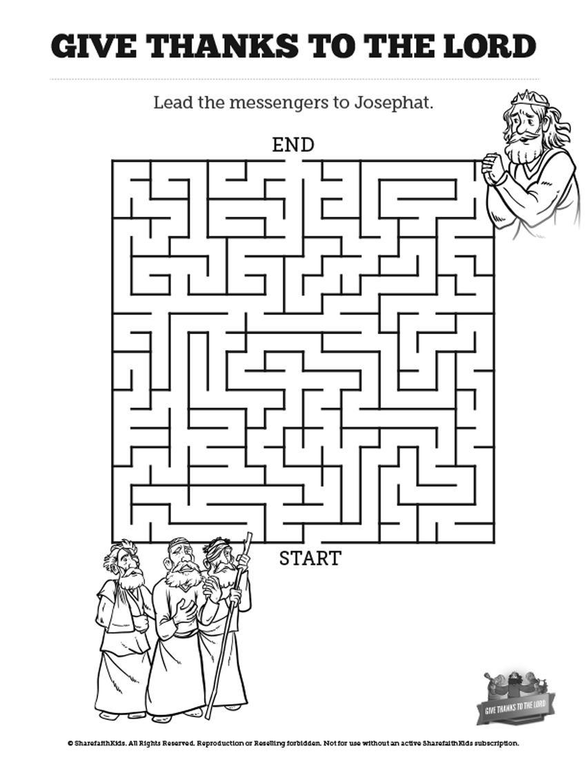 2 chronicles 20 give thanks to the lord bible mazes this for King jehoshaphat coloring page