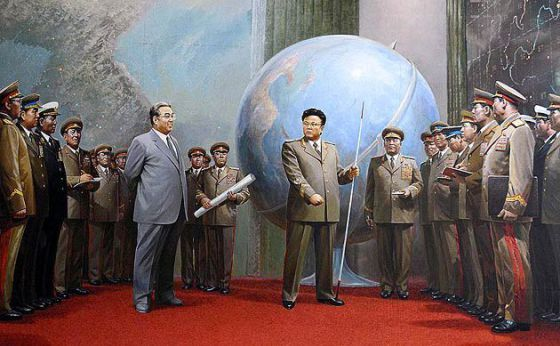 kim-jong-il-propaganda-posters-10-giant-globe-surrounded-by-military