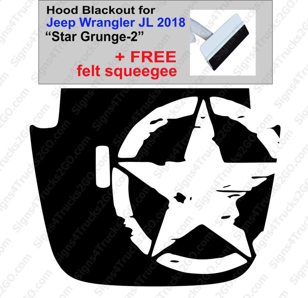 #0147 2018 JL JLU Hood Blackout Decal Graphic JEEP Wrangler Sahara Matte Black