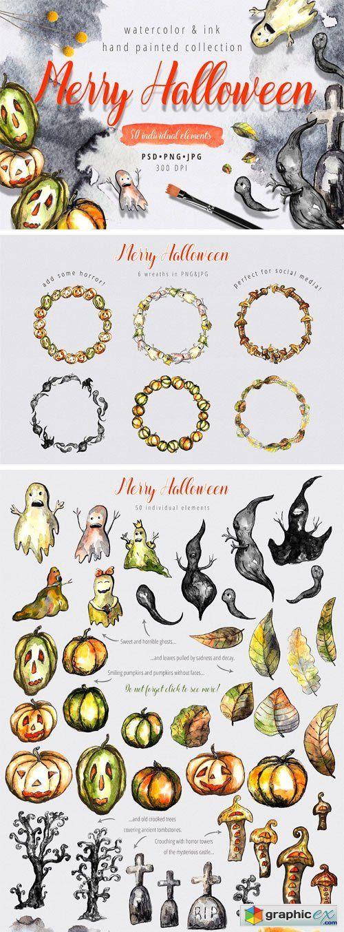Merry Halloween  Watercolor  stock images