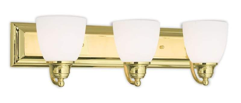 Photo of Livex Lighting 10503-02 Polished Brass Springfield 3 Light Vanity Light with Hand-Blown Glass Shades