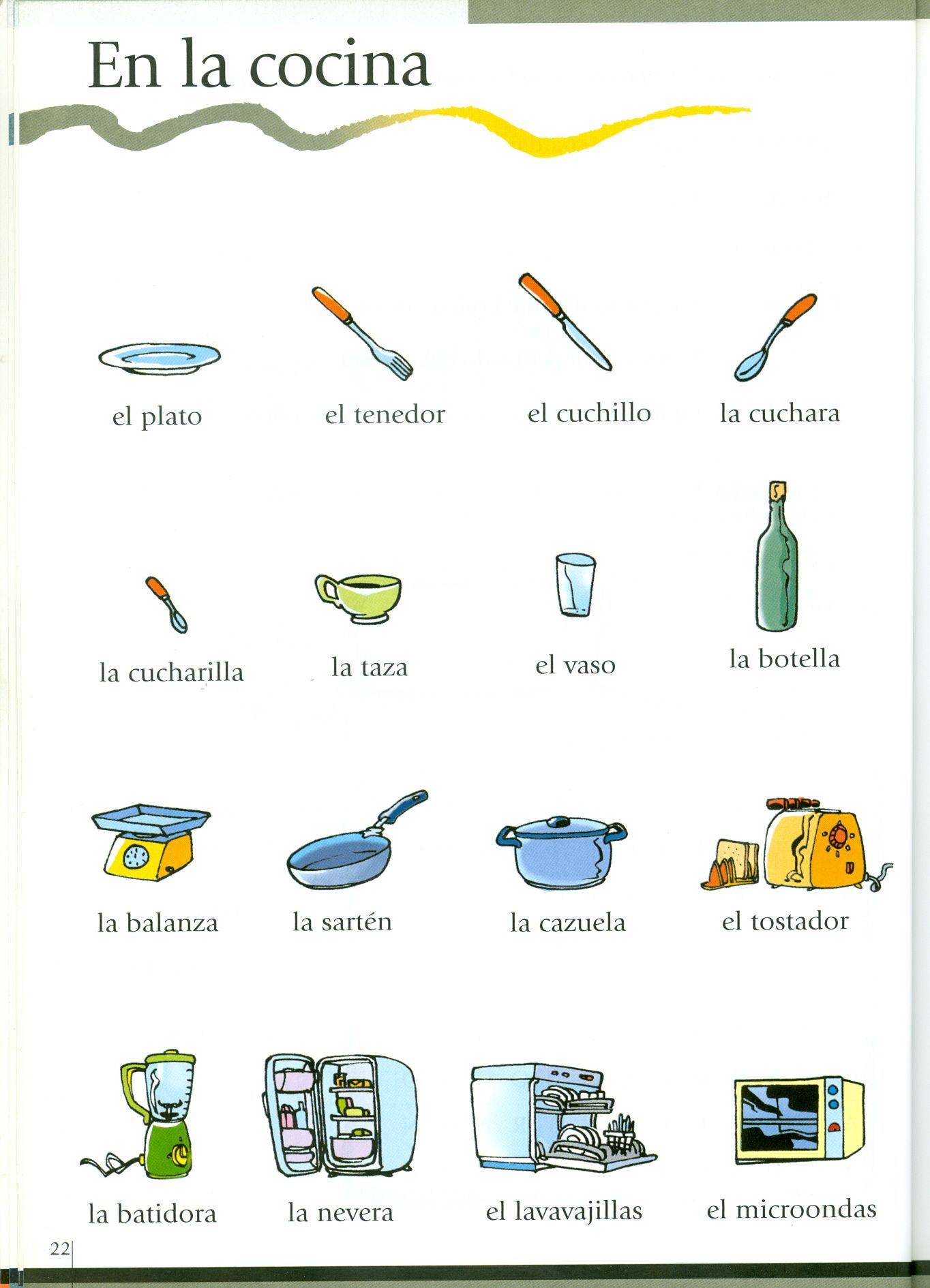 En la cocina vocabulario espa ol spanish vocabulary for Utensilios de cocina nombres en ingles