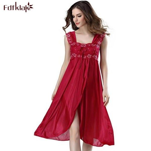fd27926e83 Go shopping for the lowest price Summer Dress 2018 Lace Sleeveless Lingerie  Sexy Women Nightwear Silk Night Gowns Satin Nightgown Sleepwear .
