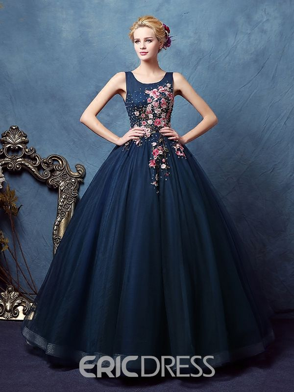 a1d47bc29a Ericdress Scoop Ball Gown Appliques Beaded Floor-Length Quinceanera Dress  15 Dresses