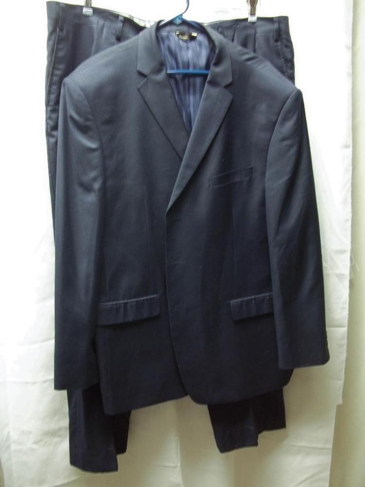 Rossini Men's Size 52R Jacket 46R Pants Matching 2 Pc Suit Navy Blue Lined EUC #Rossini #ThreeButton