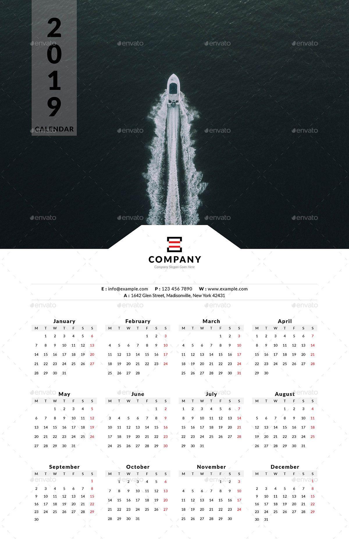 2019 One Page Wall Calendar Wall Calendar Calendar Wall Calendar Design