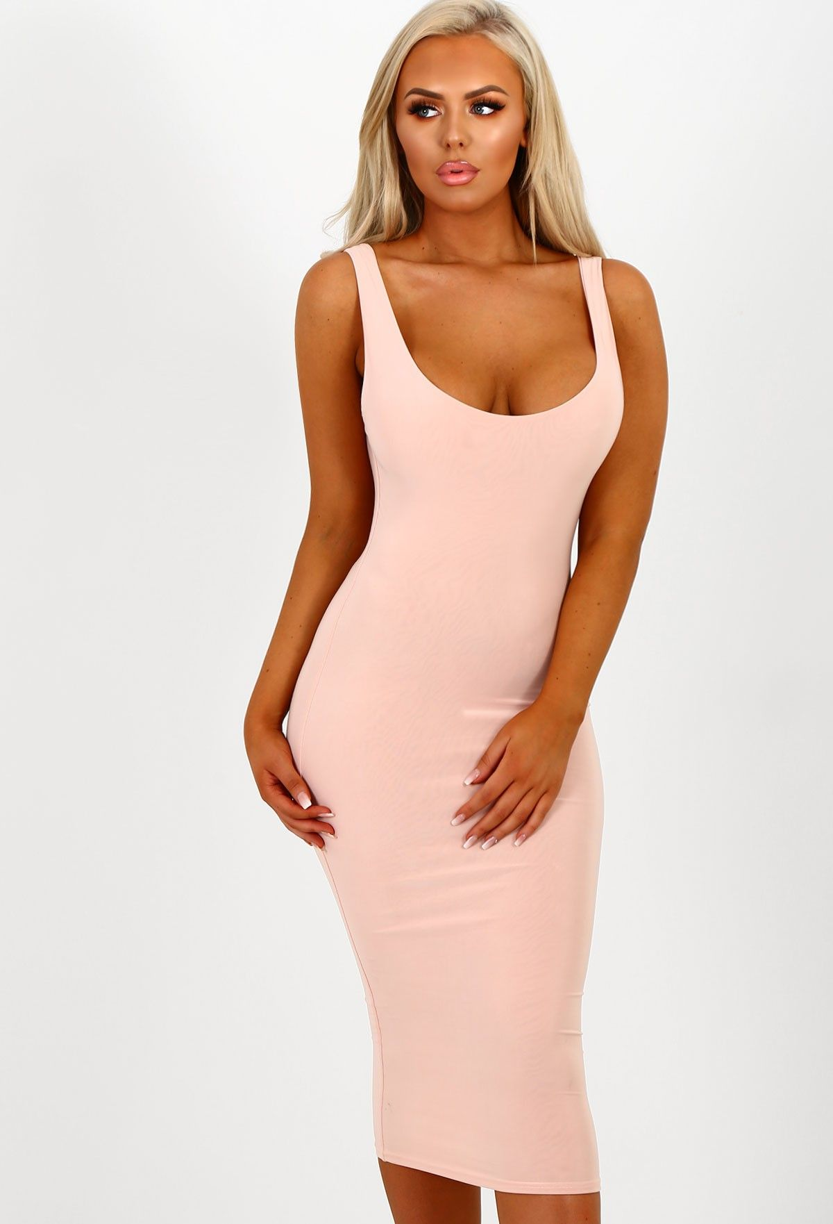 On my mind nude slinky bodycon midi dress midi dresses bodycon