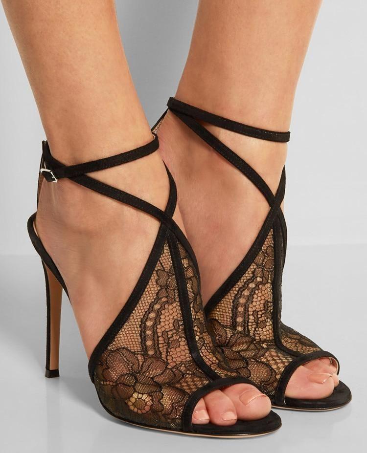 4d80abf3adf4 European summer fashion sandals sexy black lace empty sandals high heel  peep toe buckle nightclub female cross straps sandals