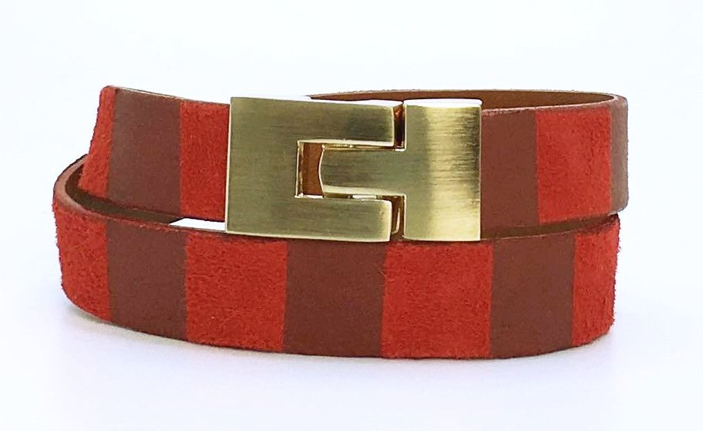 SALE Double Jigsaw Bracelet Red Stripe Leather